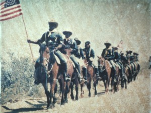 historical-reenactment-of-u-s-cavalry-on-horseback-with-american-flag